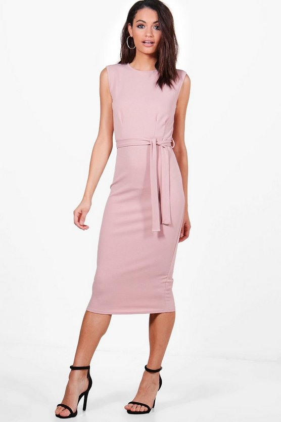 Evie Sleeveless Pleat Front Tailored Midi Dress