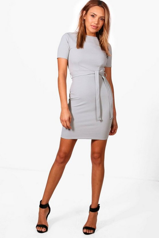 Evy Pleat Front Belted Tailored Dress
