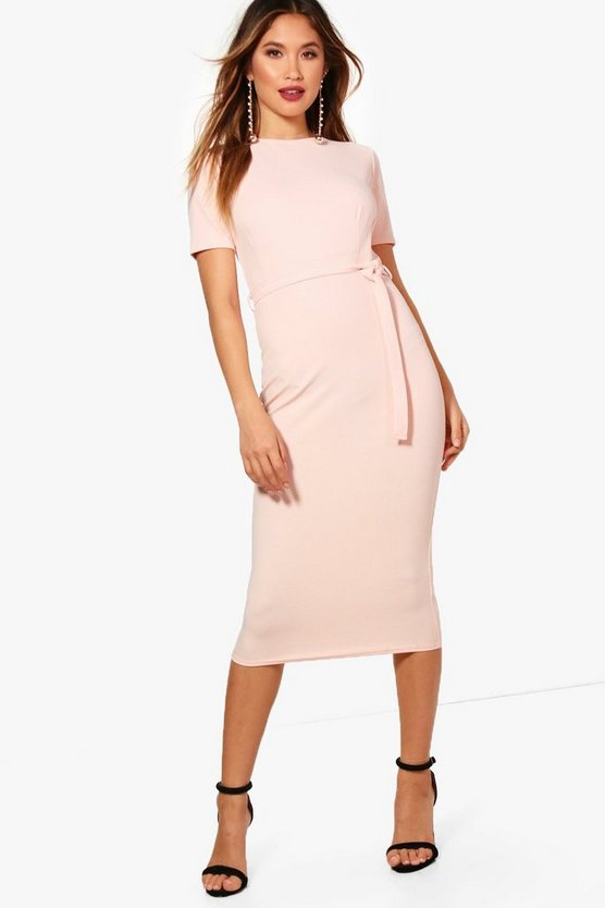 Pleat Front Belted Tailored Dress