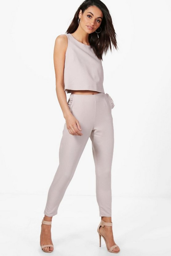 Rebecca Frill Pocket Tapered Woven Tailored Trouser