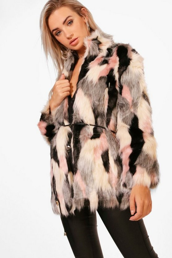 Boutique Emma Patchwork Faux Fur Coat With PU Belt