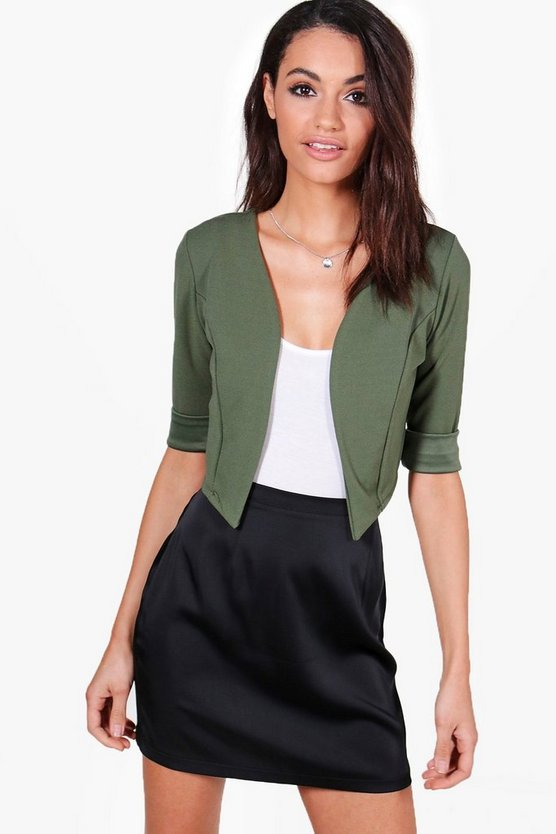 Elizabeth Collarless Crop Jacket