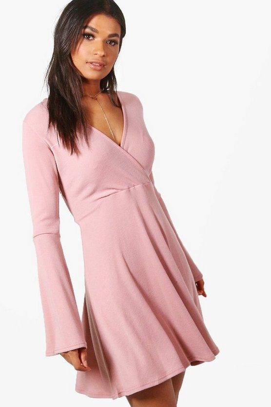 Natasha Flare Sleeve Wrap Skater Dress