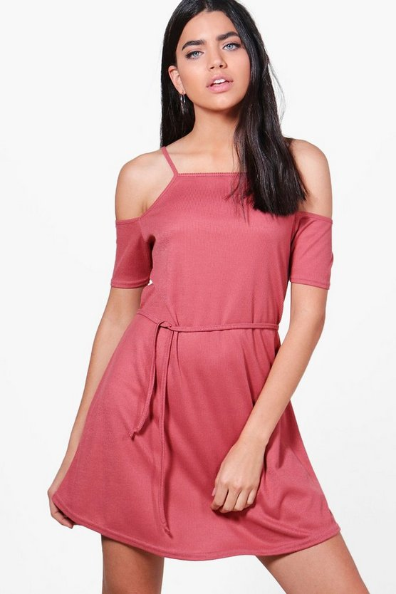 Poppy Cold Shoulder Rib Knit Dress