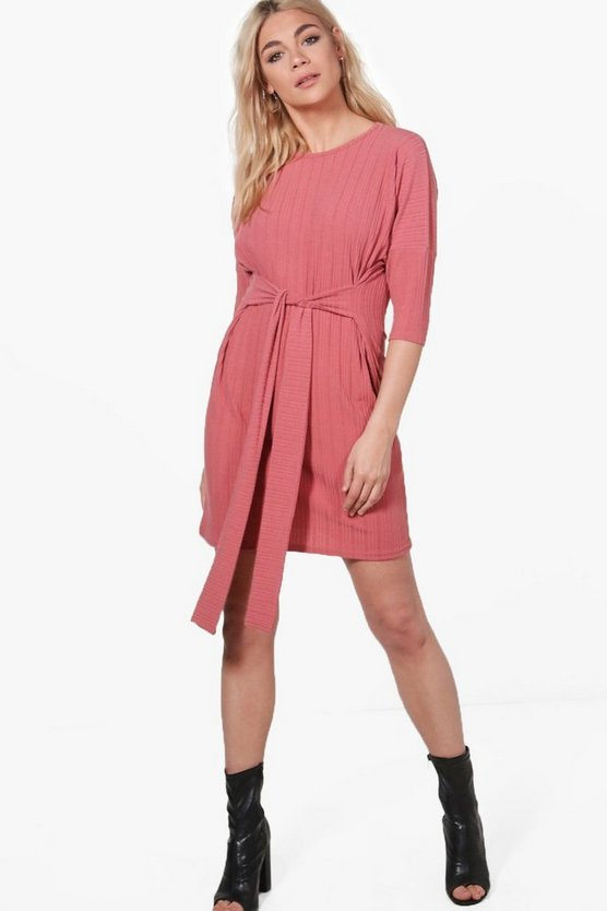 Jade Rib Knit Tie Waist Dress