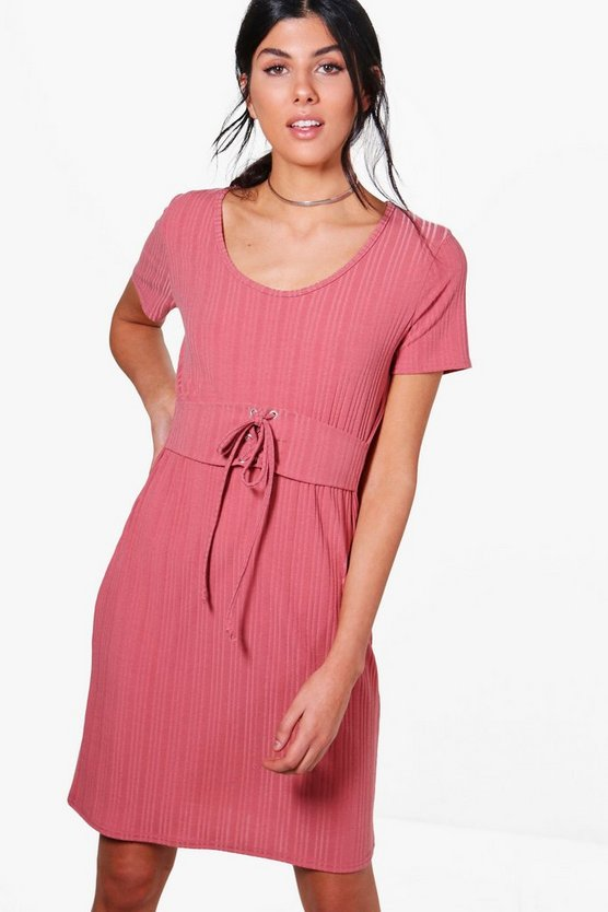 Jennifer Rib Knit Corset T-Shirt Dress