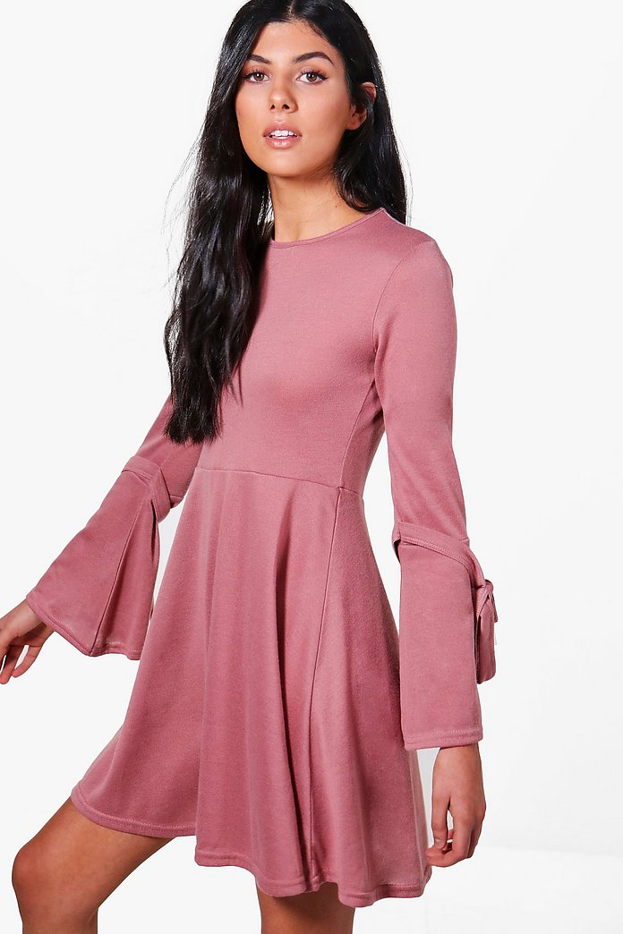 Georgina Tie Sleeve Skater Dress