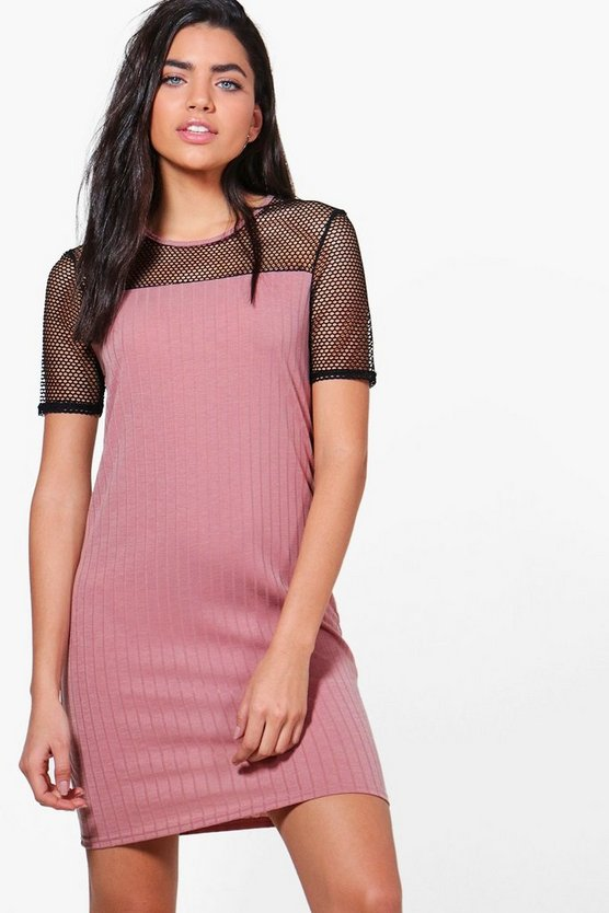 Vanessa Mesh Detail Rib Knit Dress