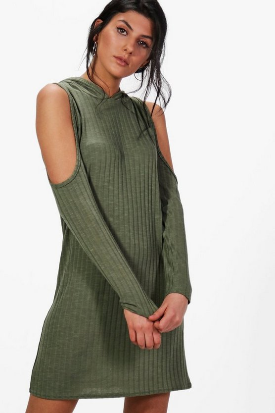 Katie Hooded Rib Knit Dress