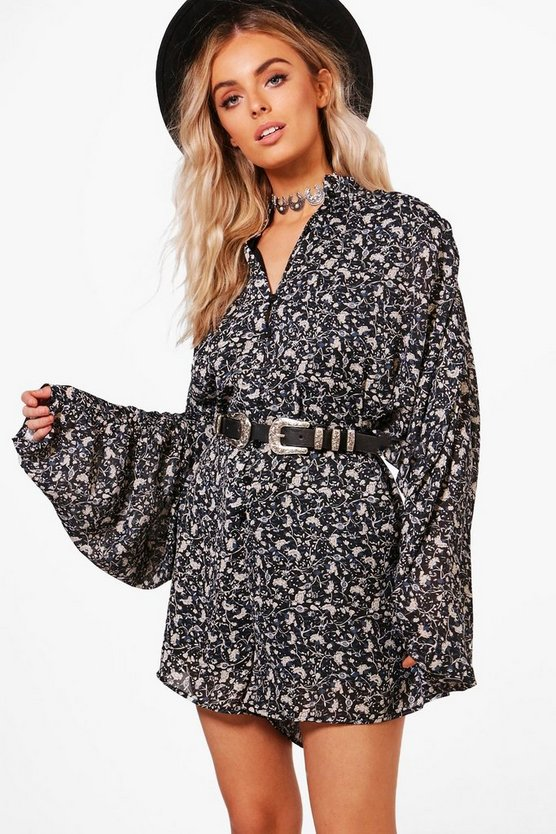 Rose Floral Long Sleeve Playsuit