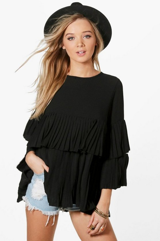 Evie Woven Frill Pleated Blouse