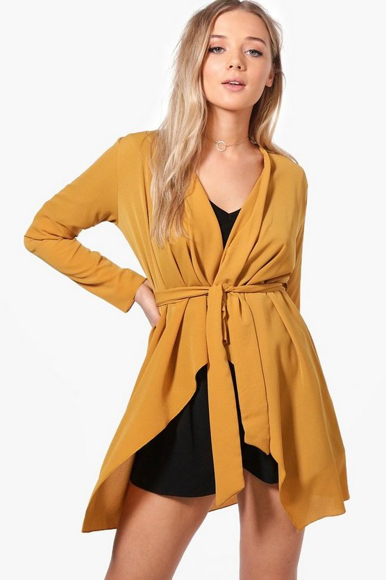 Aimee Belted Waterfall Duster