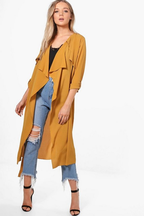 Jessica Woven Waterfall Belted Duster