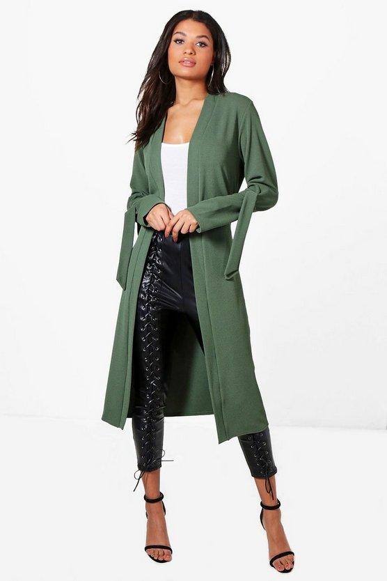 Olivia Longline Tie Cuff Belted Duster
