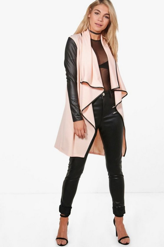 Hannah Contrast Trim Waterfall Duster