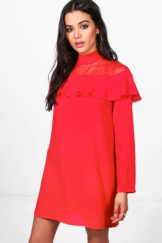 Charlotte Mesh Insert Ruffle Shift Dress