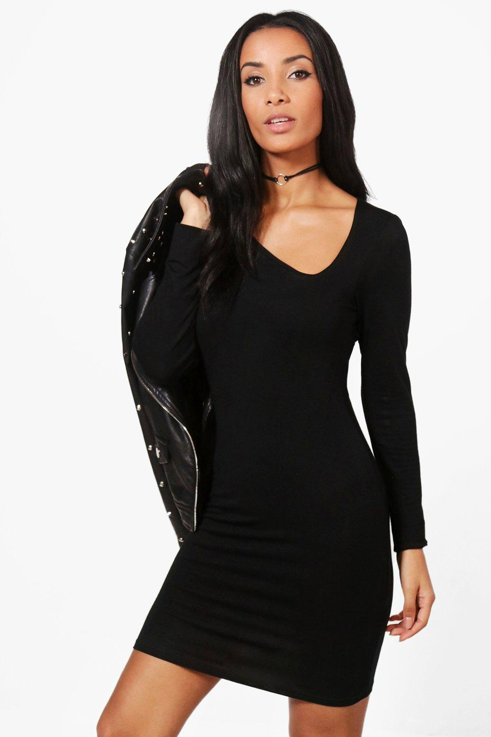 Asymmetric Cut Out Bodycon Dress  black