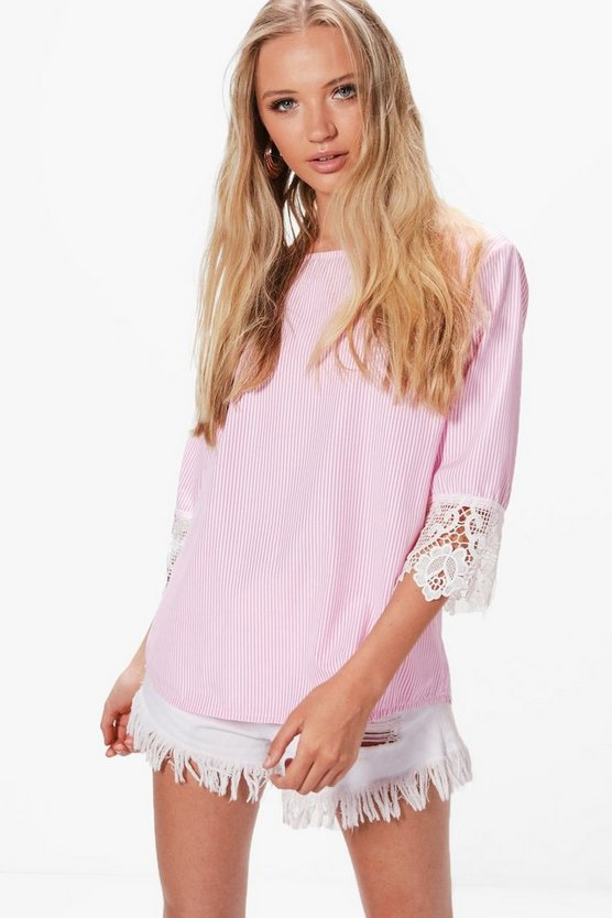 Helena Woven Crochet Sleeve Stripe Blouse