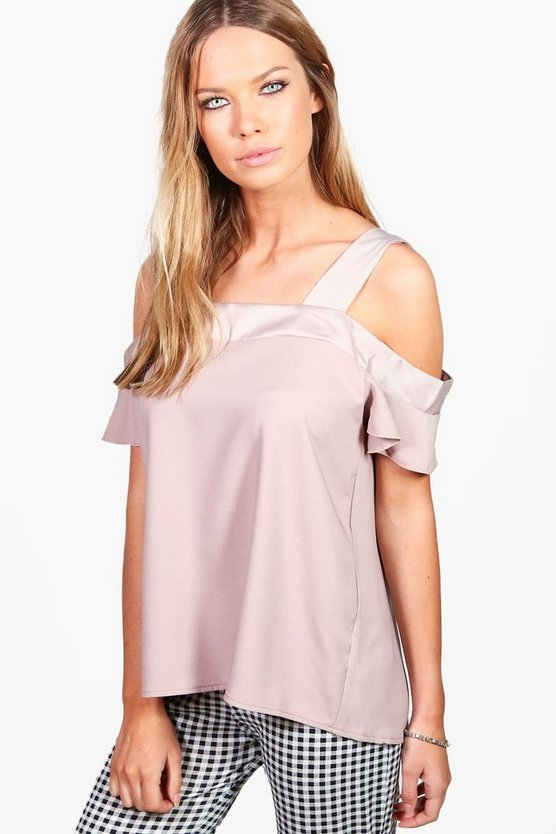 Ava Woven Cold Shoulder Top