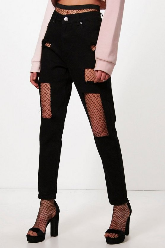 Camila Black Ripped Fish Net Boyfriend Jeans