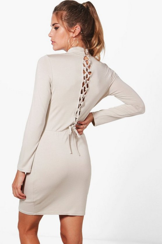 Georgia Lace Up Back Bodycon Dress