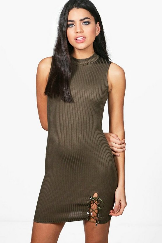 Rose Lace Up Side Ribbed Bodycon Dress