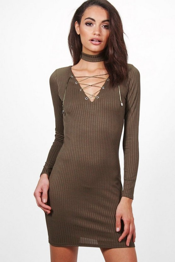 Lilly Long Sleeve Ribbed Lace Up Front Bodycon Dress