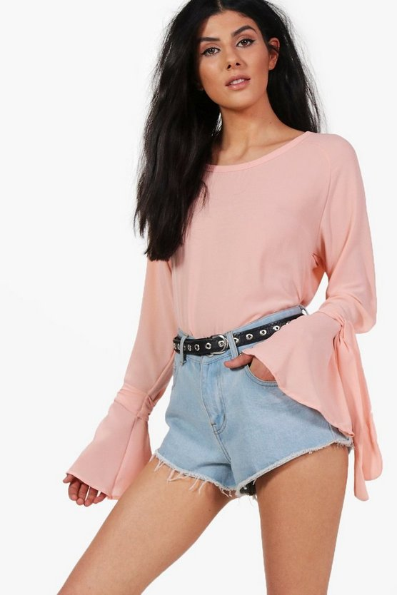 Stella Woven Tie Long Sleeve Top