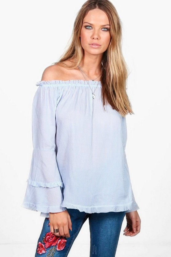Daisy Tiered Sleeve Stripe Woven Off The Shoulder Top