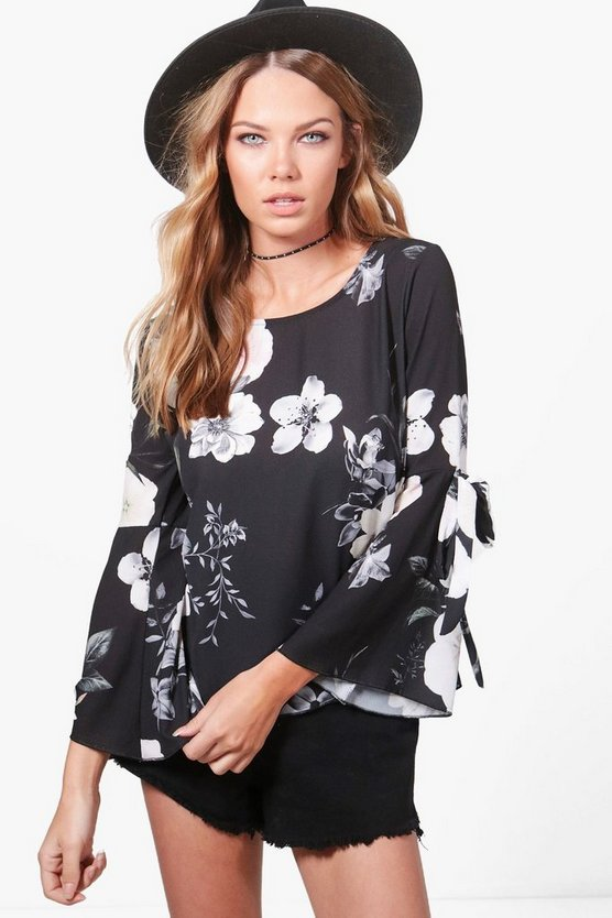 Daisy Floral Woven Tie Sleeve Top