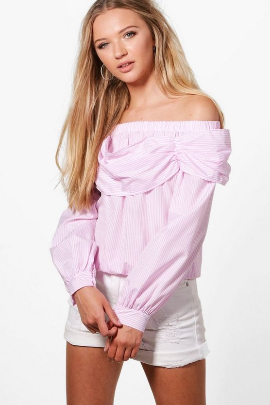 Harley Woven Stripe Off The Shoulder Top