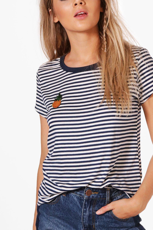 Boohoo-Camiseta-A-Rayas-Con-Insignia-De-Pina-Lola-para-Mujer
