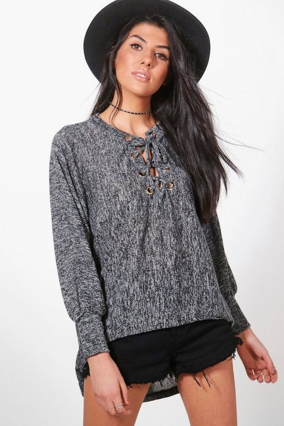 Cara Lace Up Batwing Jumper