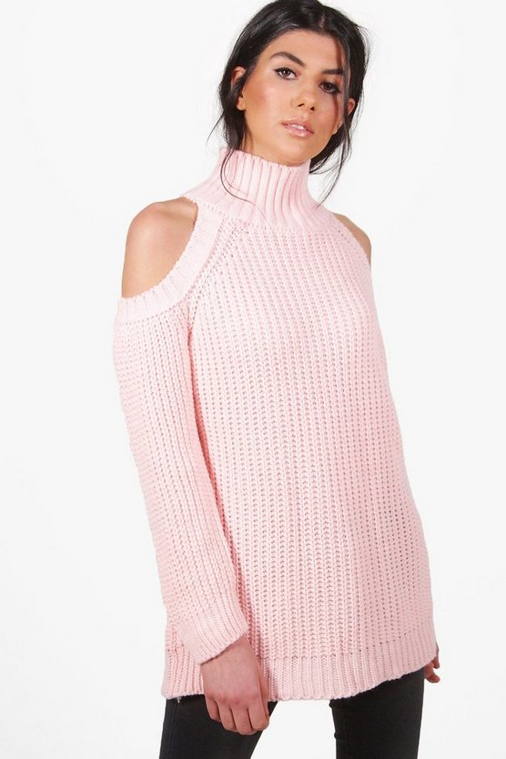 Hannah Funnel Neck Cold Shoulder Jumper