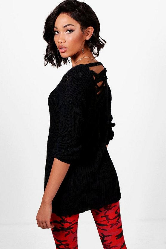 Esme Lace Up Back Tunic Jumper