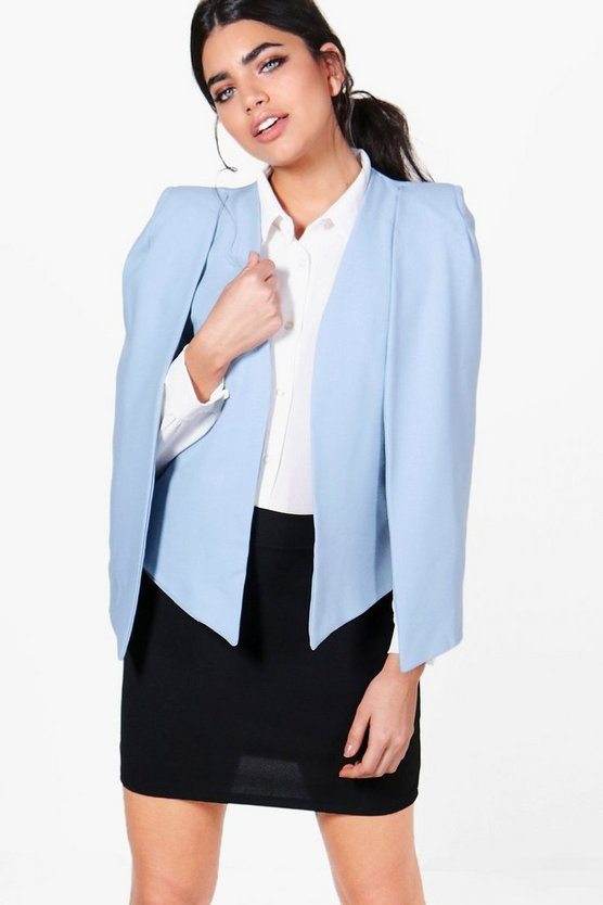 Woven Tailored Cape Blazer