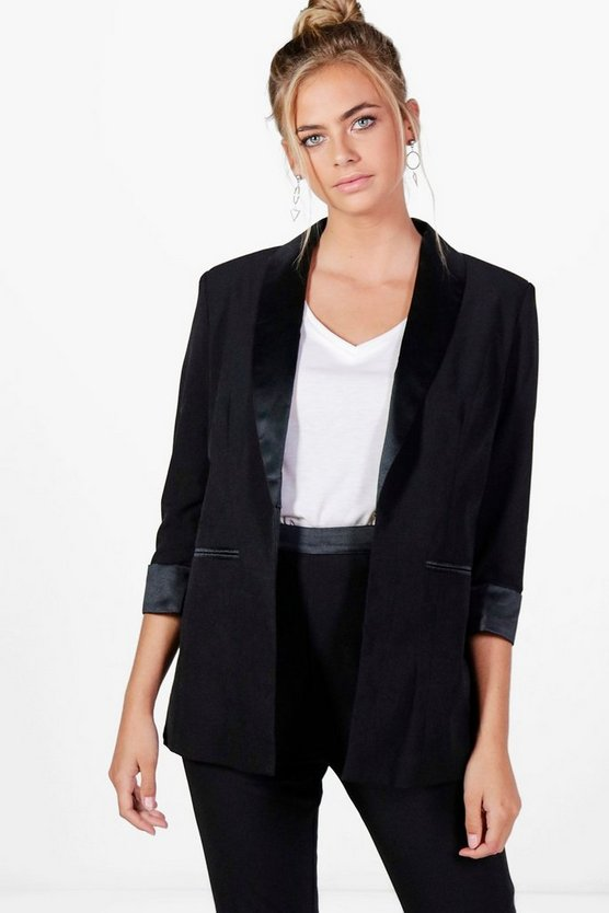 Erin Premium Satin and Crepe Tux Blazer