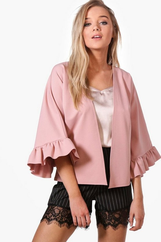 Tanya Frill Sleeve Edge To Edge Jacket