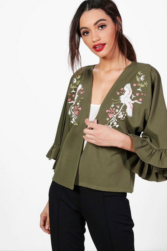 Jessica Oriental Embroidered Ruffle Sleeve Jacket