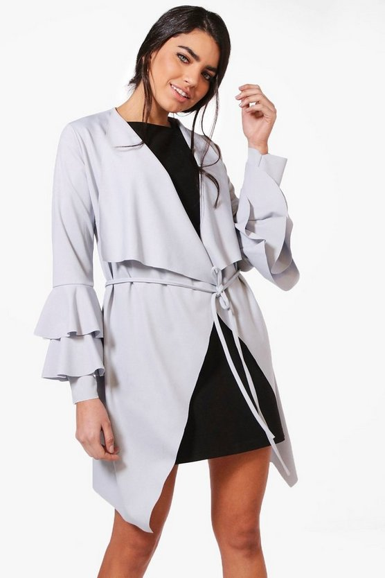 Kate Ruffle Sleeve Belted Duster