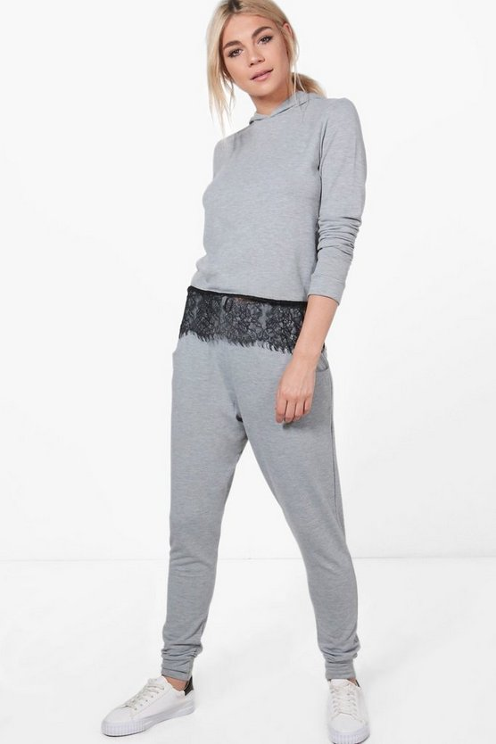 Rebecca Lace Trim Hoody Loungewear Set