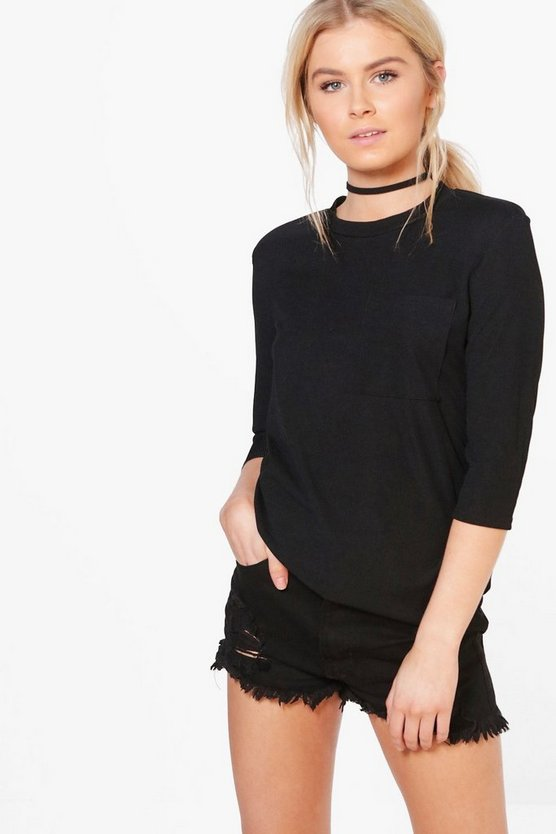 Vanessa Oversized Rib Knit Pocket T-Shirt