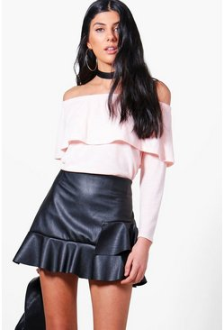 Bethany Bardot Soft Knit Ruffle Top