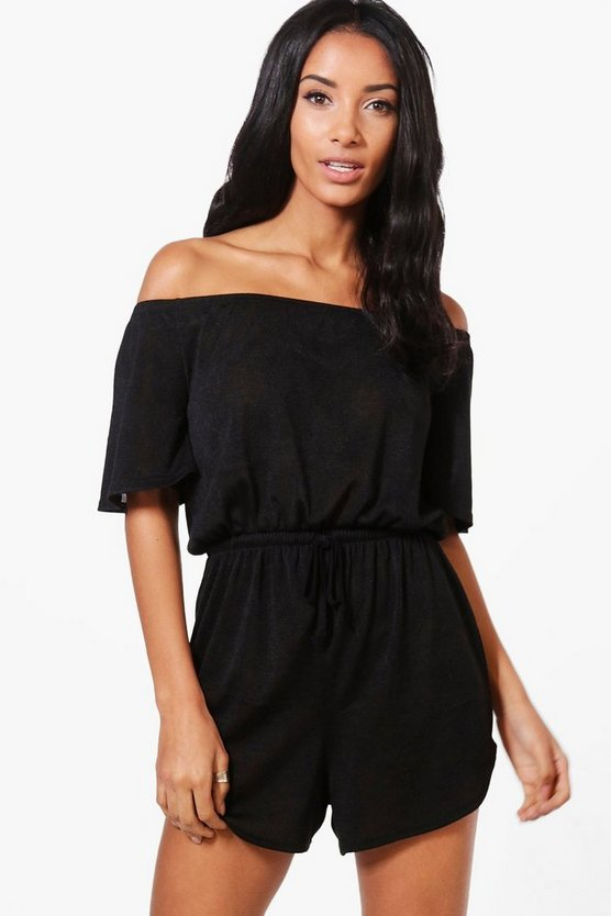 Annabelle Off The Shoulder Knitted Lounge Playsuit