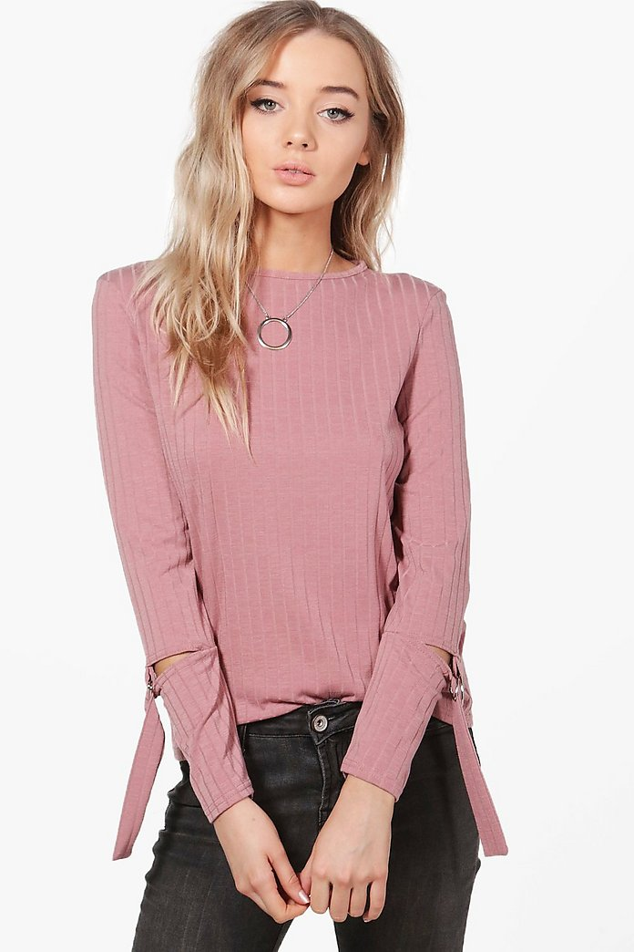Megan D-Ring Sleeve Detail Rib Knit Jumper