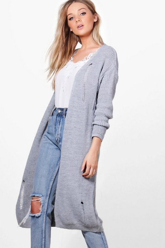 Maria Oversized Distressed Cardigan