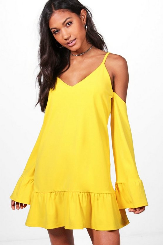 Ivy Cold Shoulder Frill Hem Shift Dress