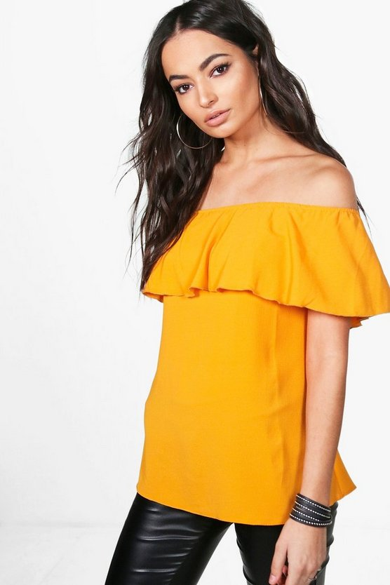 Poppy Woven Off The Shoulder Bardot Top