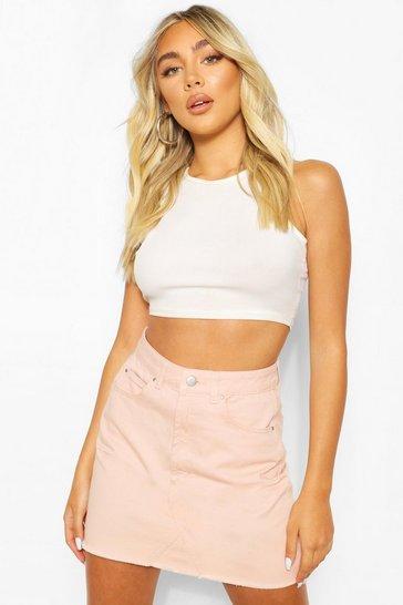 Nude Frayed Hem Denim Micro Mini Skirt