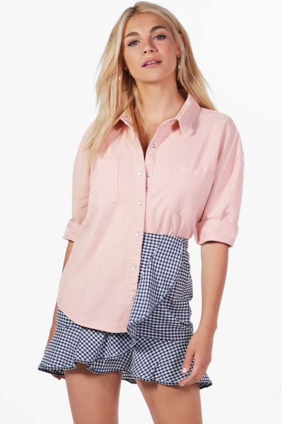 Dani Pink Denim Oversized Shirt